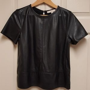 LOFT Faux Black Leather Front Top